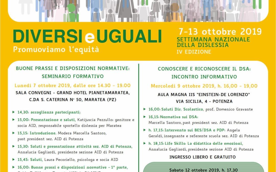 IV EDIZIONE DELLA SETTIMANA NAZIONALE DELLA DISLESSIA 2019 – 7 al 13 ottobre 2019